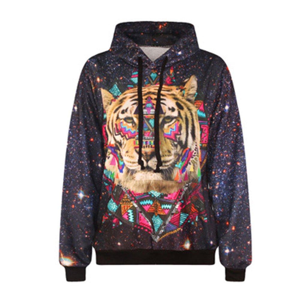 Rains Pan Unisex Simulation Printed Galaxy Drawstring Hooded Hoodie Sweatshirt US L=Asia XXL