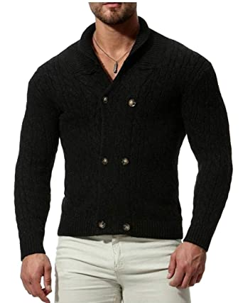 9b8b5216abe ouxiuli Men's Slim Fit Knitted Solid Color Casual Double Breasted ...