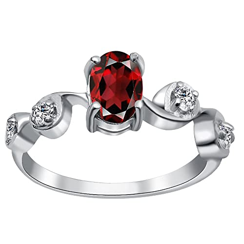 925 Sterling Silver Round Cut Prong Set Garnet Gemstone Infinity Knot Gift Ring