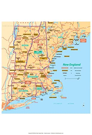 Amazon michelin official new england map art print poster 13 x michelin official new england map art print poster 13 x 19in publicscrutiny Choice Image