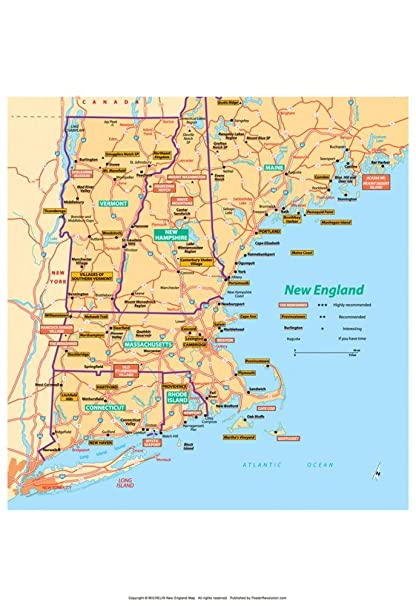 Amazon.com: Michelin Official New England Map Art Print Poster 13 x ...