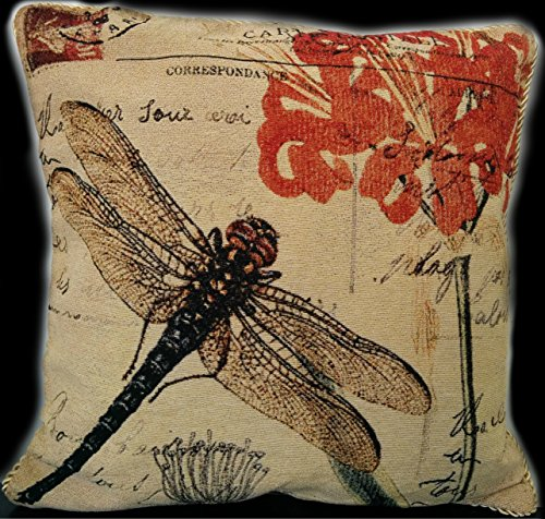 Tache 1 Piece 18 x 18 inch Square Exotic European Vintage Fly High Dragonfly Decorative Cushion Pillow Throw Cover