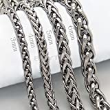 Great 3/4/5/6MM 20 MENS Silver Stainless Steel Wheat Braided Chain Necklace o#by pimchanok shop (3)