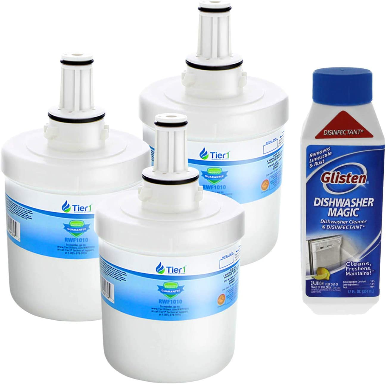 Tier1 Replacement for Samsung DA29-00003G Refrigerator Water Filter 3-Pack and DM06N Glisten Dishwasher Cleaner Combo