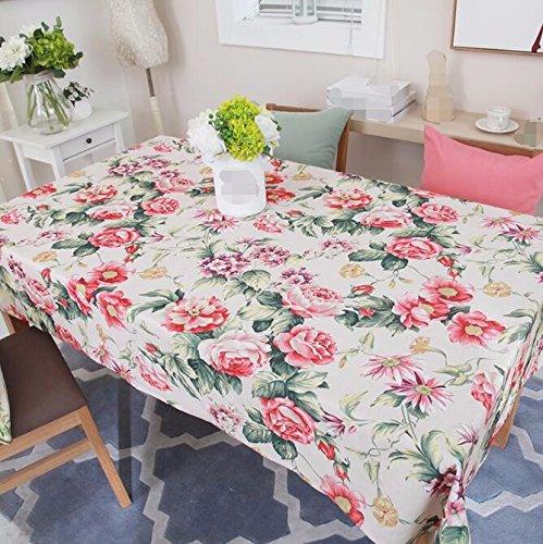 Tabgw Nappe rectangulaire salle à manger drap de coton couverture en tissu Garden Hotel Cafe Restaurant Accessoires pour la maison Style européen impression 180X130cm