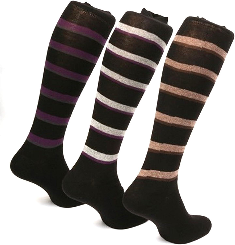 Men/'s Knee High Socks Cotton Striped Design Brown /& Black Made in Italy.