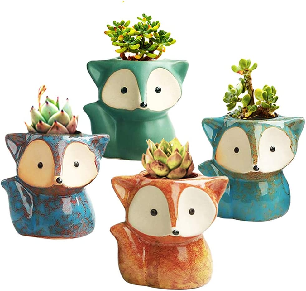 GZQCI Succulent Pots, Ceramic Flower Planter, Small Animal Succulent Planters, Cute Cactus Flower Pot/Garden Planters, Office Home Decoration Pack of 4