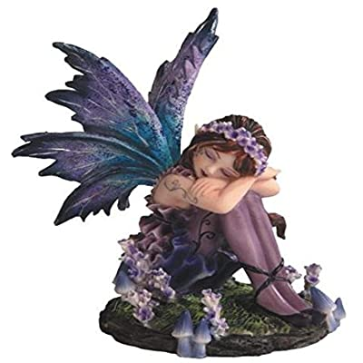StealStreet SS-G-91587 Young Blue and Purple Fairy Sleeping in Garden Figurine, Small: Home & Kitchen