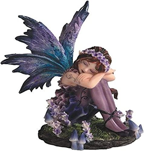 StealStreet SS-G-91587 Young Blue and Purple Fairy Sleeping in Garden Figurine, Small
