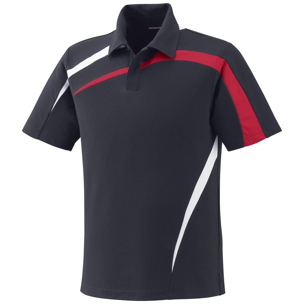 Ash City Mens Impact Pique Color Block Polo (Small, Black Silk/Olympic Red/White)