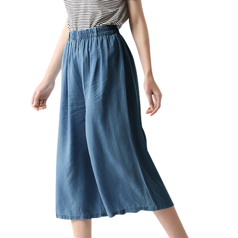 Anguang Donna Moda Sciolto Pantaloni Capri in Denim Jeans Pantaloni Larghi Con Coulisse