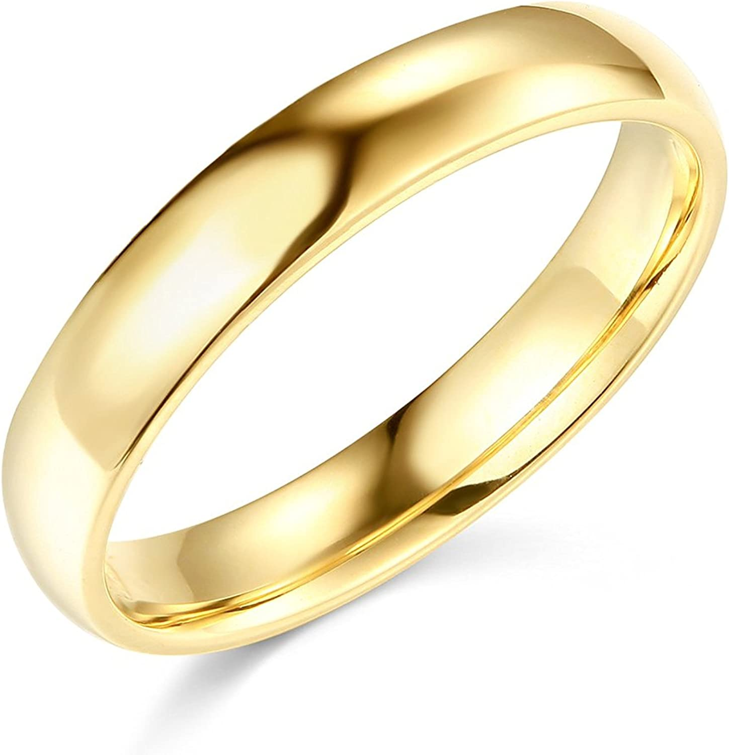 4 mm Solid 14k Yellow Gold Band Plain Wedding Ring Polished Finish Regular Fit