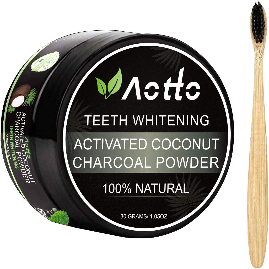 Aotto Activated Charcoal Natural Teeth Whitener Teeth Whitening Charcoal Powder No Hurt on Enamel with Bamboo Brush: Health & Personal Care