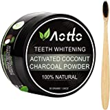 Aotto Activated Charcoal Teeth Whitening, Teeth Whitener Powder for Natural Coconut, No Hurt on Enamel or Gum, Bamboo Brush I
