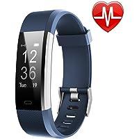 LETSCOM Fitness Tracker HR, reloj de seguimiento de actividad con monitor de ritmo cardíaco, resistente al agua, pulsera inteligente de fitness con contador de pasos, contador de calorías, podómetro para niños, mujeres y hombres