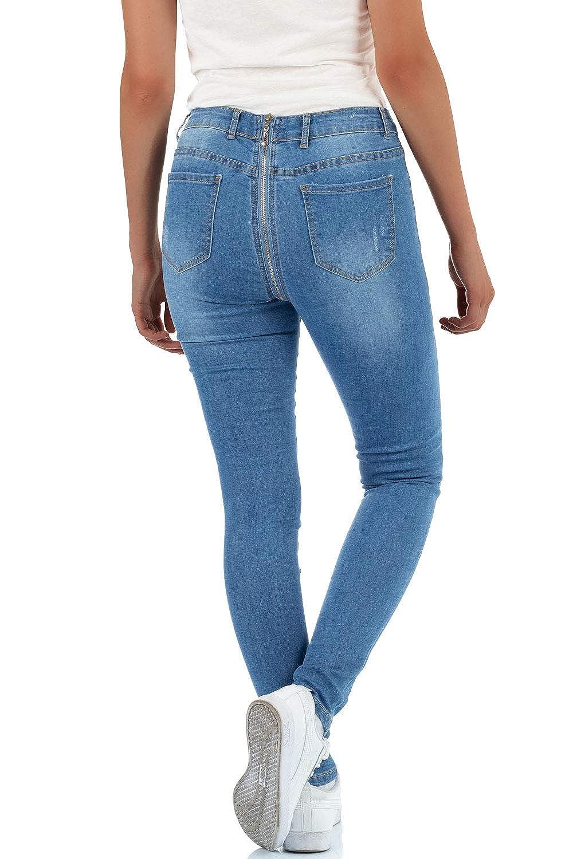 Malucas Damen Skinny Jeans mit Hohem Bund Hose Stretch Denim
