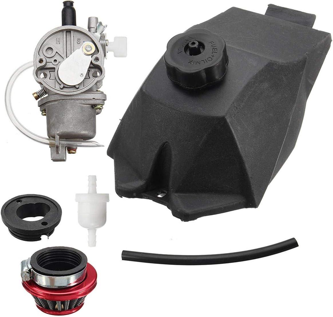 RENCALO Carburatore con Carburante Serbatoio Benzina Tubo Filtro Aria per 47cc 49cc Mini Moto ATV Quad Dirt Bike
