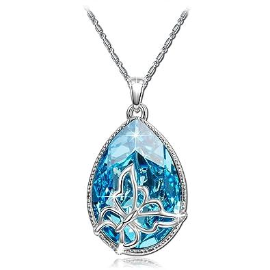 8d039ce0959ec6 Brilla Collier Femme Papillons, Rêver Motif Pendentif Bleus Clairs Cristaux  de Swarovski Bleu, Cadeau