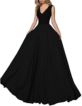Liaoye Womens Black Lace A Line Prom Dresses Long Chiffon Formal Evening Party Gown Black 2