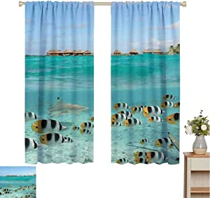 Mademai Ocean Blackout Fabric by The Yard Blacktip Reef Shark Chasing Butterfly Fish Lagoon of Bora Bora Tahiti Your own Personal Space  W55 x L63 Aqua Yellow and Black