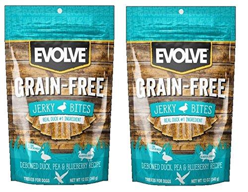 Evolve Grain Free Jerky Bites Duck, Pea, & Blueberry Recipe 2 (12 oz) Pack Bundle