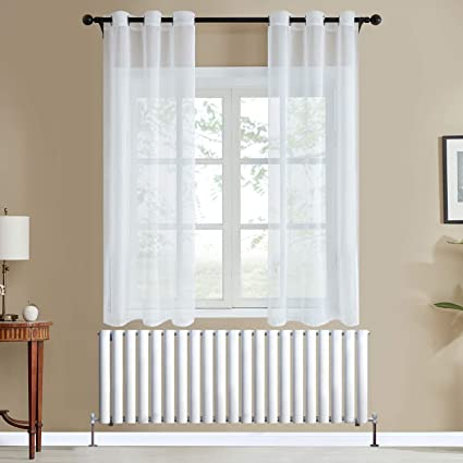 topfinel 2 piece rideau voilage blanc 117x137 cm a oeillet semi transparent en effet lin decoration d interieur de fenetre de salon moderne chambre