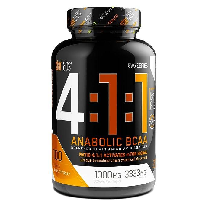 StarLabs Nutrition - 4:1:1 Anabolic BCAA - Aminoácidos ramificados - 100 capsulas