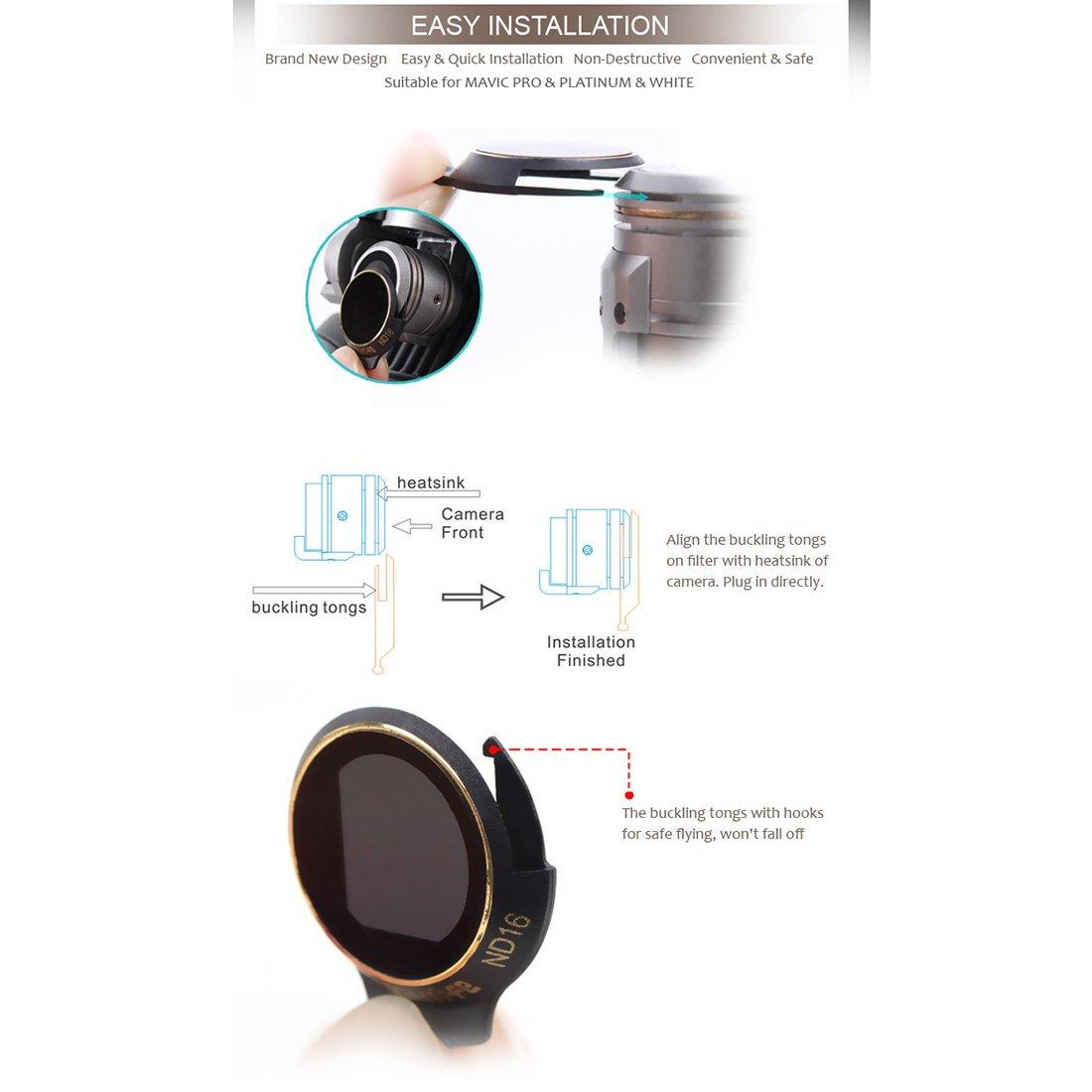ND32 PINCHUANGHU Ultra-light Filter for DJI Mavic Pro//Alpine White//Platinum