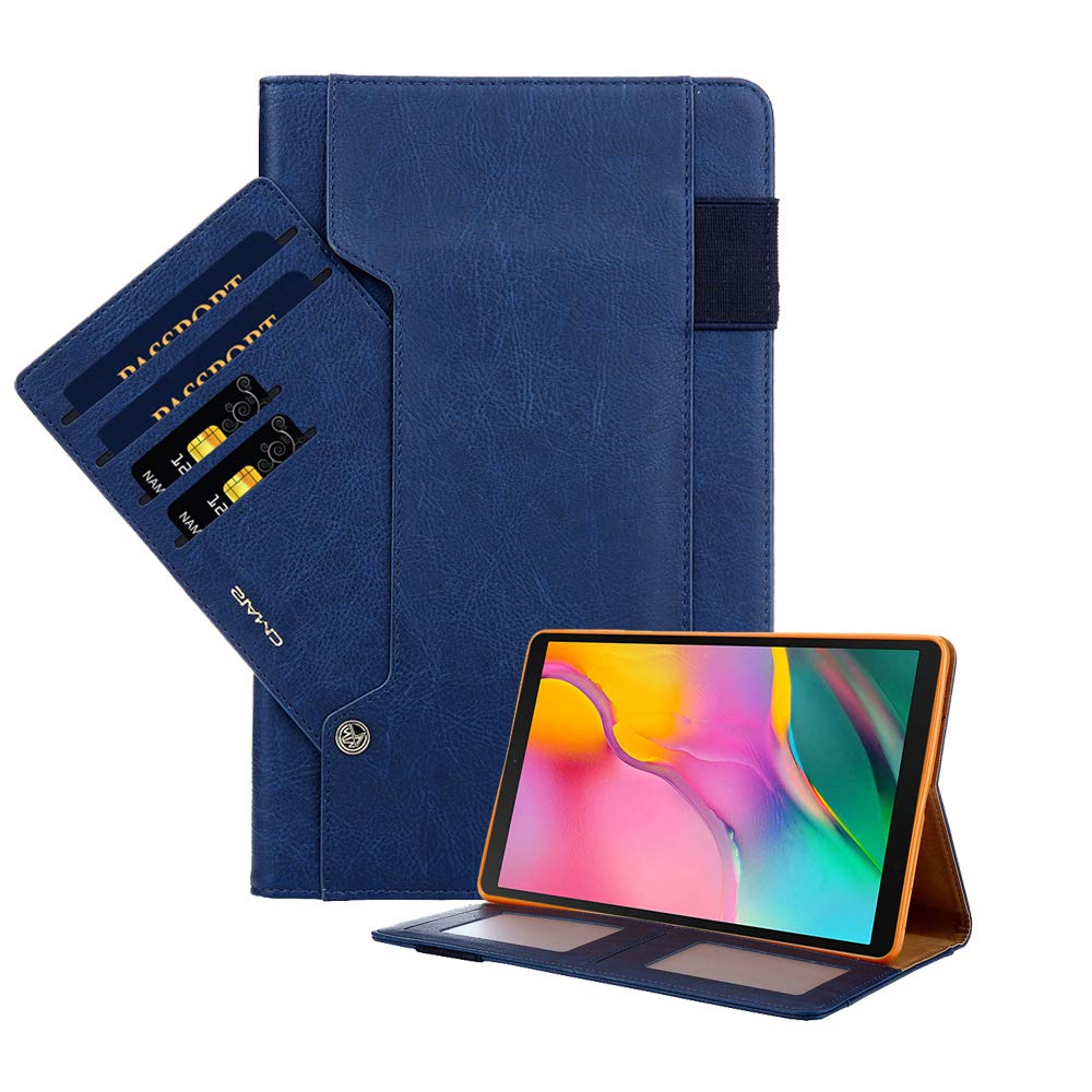 Galaxy Tab A 10.5 Case, PU Leather Smart Stand Protective Case Silicone Cover with Auto Sleep/Wake Function and Card Slots for Galaxy Tab A 10.5 Inch SM-T590 / T595 / T597 - Blue