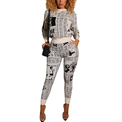 MorwenVeo Womens Newspaper Print Two Piece Outfits Jumpsuits Long Sleeve Skinny Long Pants Set Tracksuits: Clothing
