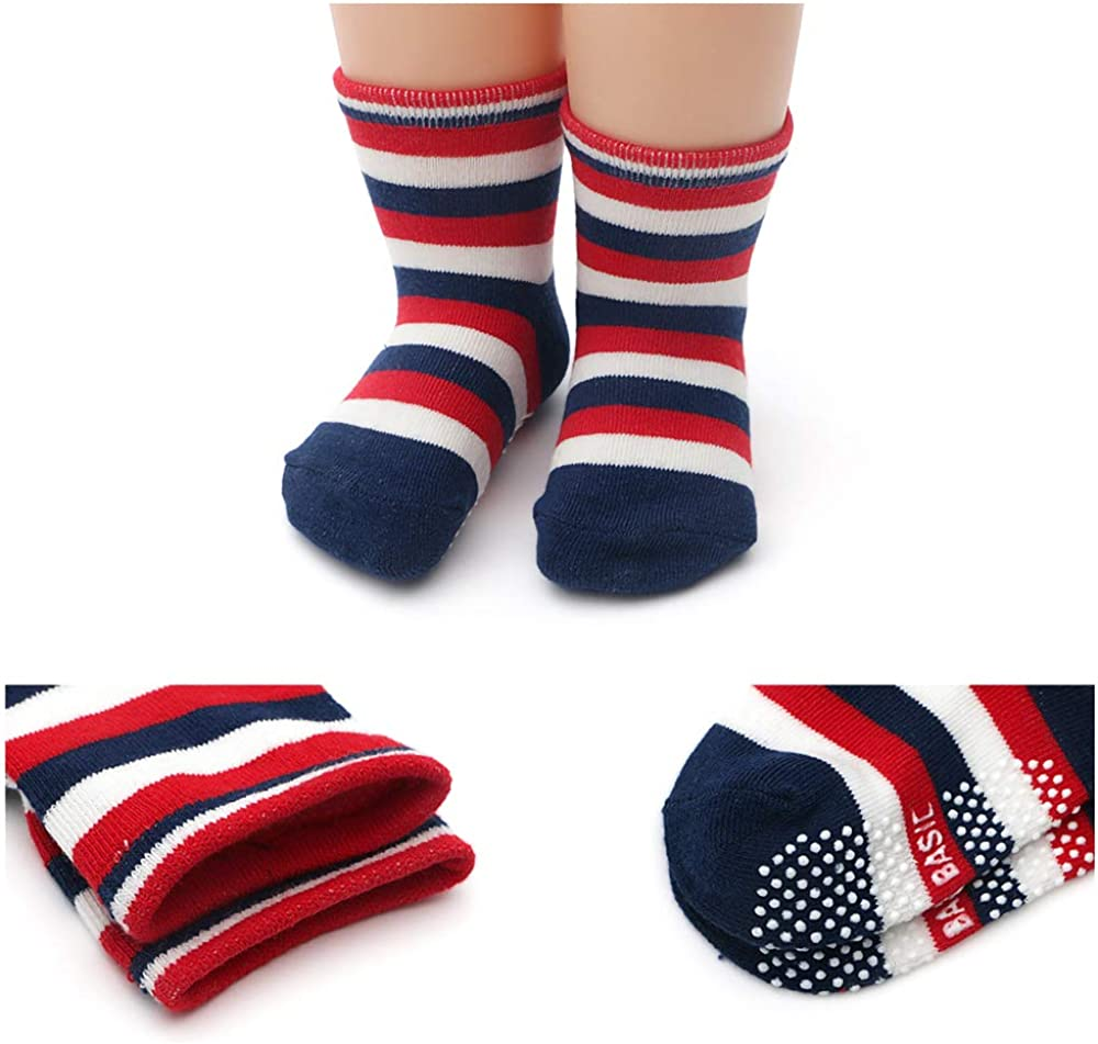 Dicry Boys Girls Non Slip Grips Crew Socks for Baby Infant Toddler Kids 12 Pairs