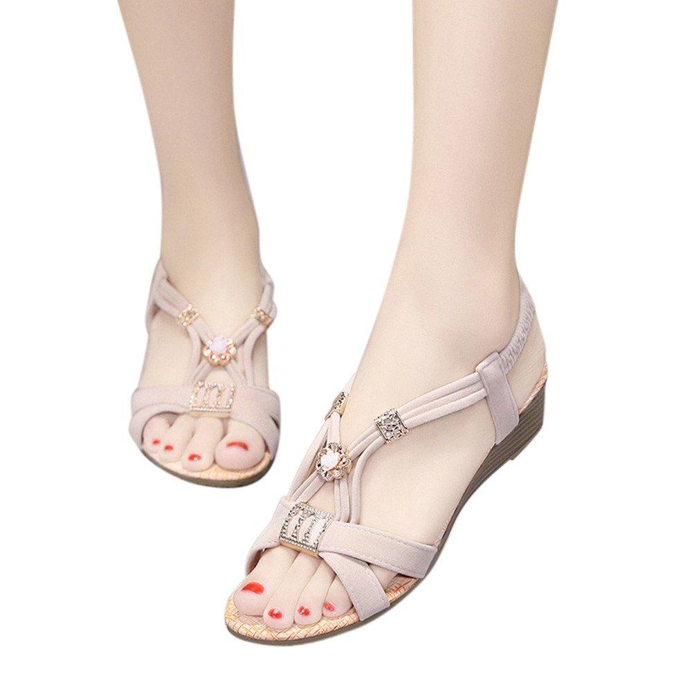 Modaworld scarpe Sandali da Donna da Estate, PU Basse Tacco Sandali Peep Toe Elegante Bohemia Perline Decorare a Forma di Fiore