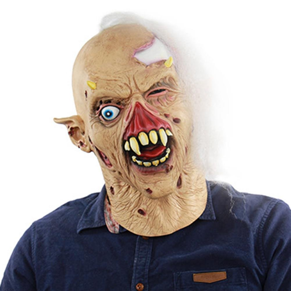 creepy scary halloween cosplay costume mask for adults party decoration scare high simulation funny horror zombie latex ghost haunted house dressing headgear