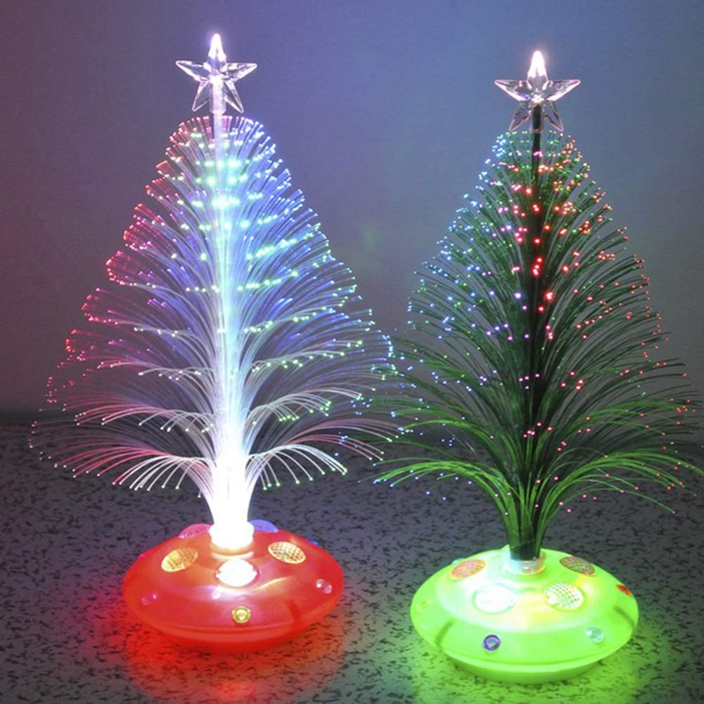 TOUTN Christmas Tree Color Changing LED Light Lamp Home Decoration, Xmas Indoor & Outdoor Decor, Lighted Tabletop LED Tree Lamp (2 Pack)