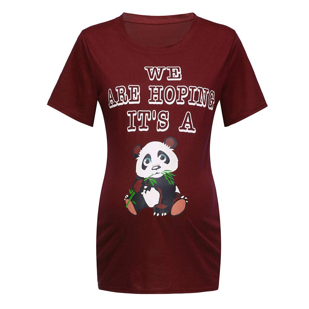Pregnancy Blouse Summer,Women Short Sleeve Pregnant Maternity Dress Solid Printing Cartoon Print Tops,Plus-Size Maternity Clothing,White,S