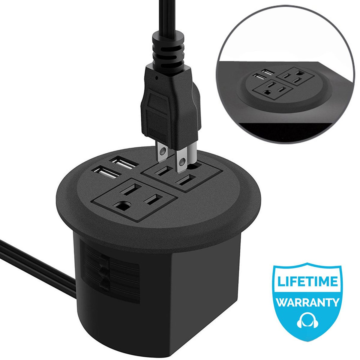 Power Grommet, Desktop Power Outlet 2 US Plugs & 2 USB Ports for Computer, Desk/Table, Kitchen, Office,Home,Hotel and More