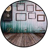 Printing Round Rug,Clock Decor,A Vintage Clock and Empty Picture Frames in an Old Room Wooden Backdrop Mat Non-Slip Soft Entrance Mat Door Floor Rug Area Rug For Chair Living Room,Green and Brown
