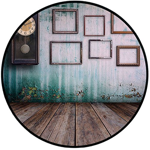(Printing Round Rug,Clock Decor,A Vintage Clock and Empty Picture Frames in an Old Room Wooden Backdrop Mat Non-Slip Soft Entrance Mat Door Floor Rug Area Rug for Chair Living Room,Green and Brown)