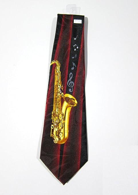 Corbata para hombre, color rojo borgoña, «Saxophone», fabricada en ...