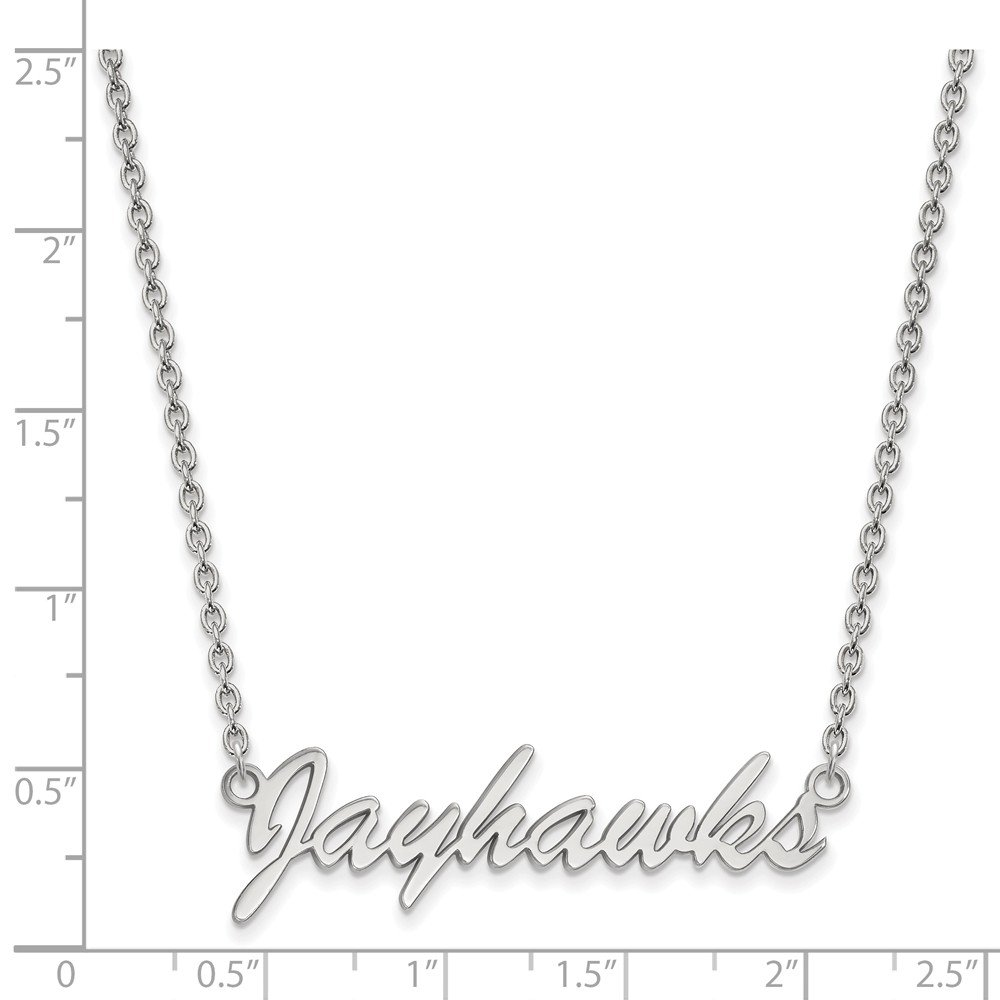 Solid 925 Sterling Silver University of Kansas Medium Pendant with Necklace 39mm