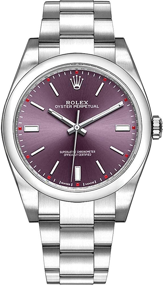 Rolex Oyster Perpetual 39 Red Grape Dial Stainless Steel Bracelet Automatic Men's Watch 114300RGSO