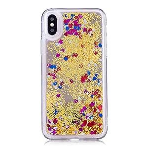 Funda iPhone X con Espejo, Carcasa Silicona Transparente con Purpurina en Forma de Corazón y Arenas Movedizas Liquida Brillante, Caso Trasera Duro para Apple iPhone X, Multicolor y Dorado
