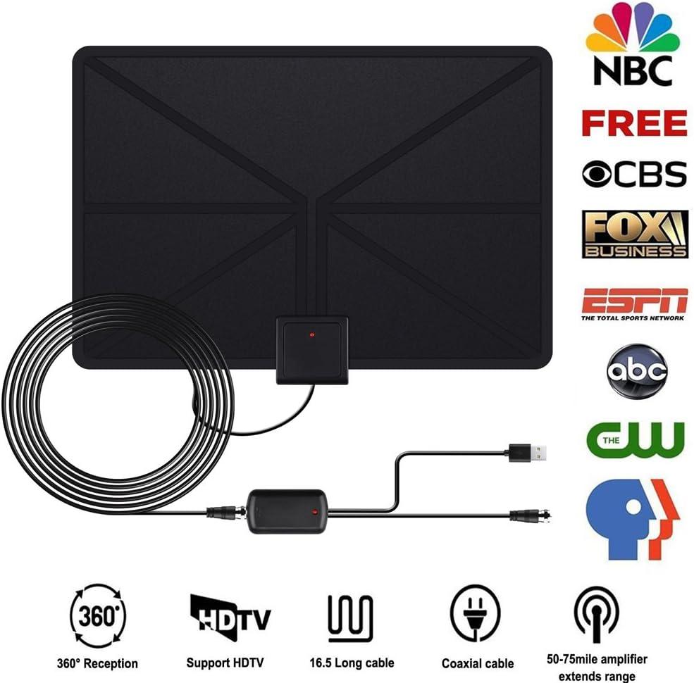 Antena de TV Interior Portátil Antena HDTV Digital Amplificador 50 Millas Gama de Recepción 4M de Cables de Alto Rendimiento de Señal Para Freeview, USB TV Tuner, DVB-T, FM, Ultra Delgado Amplificador