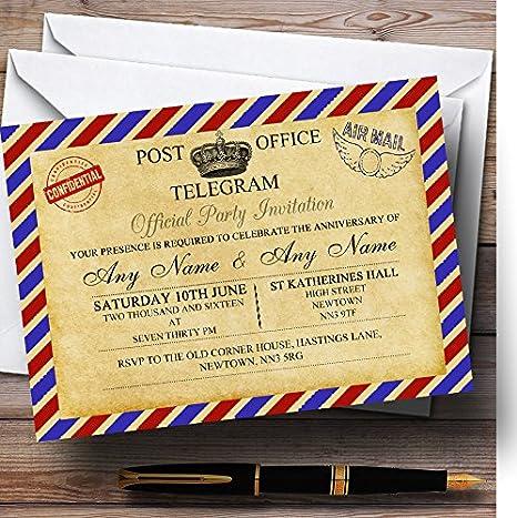 Vintage Airmail Telegram Postcard Personalised Anniversary Party Invitations Invites /& Envelopes
