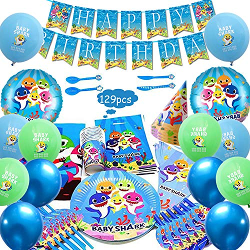 Baby Shark Party Favor Party Decorations Brithday Party Supplies,Baby Shark Paper Plates,Baby Shark Cups,Baby Shark Birthday Banner - 129 Pcs]()
