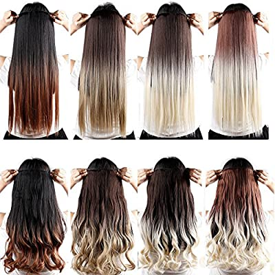S-noilite Two Tone 23 25 Inches Curly Wavy Straight One Piece 5 Clips Clip in Hair Extensions Ombre Dip Dye Clip Ins Long Thick Hairpiece