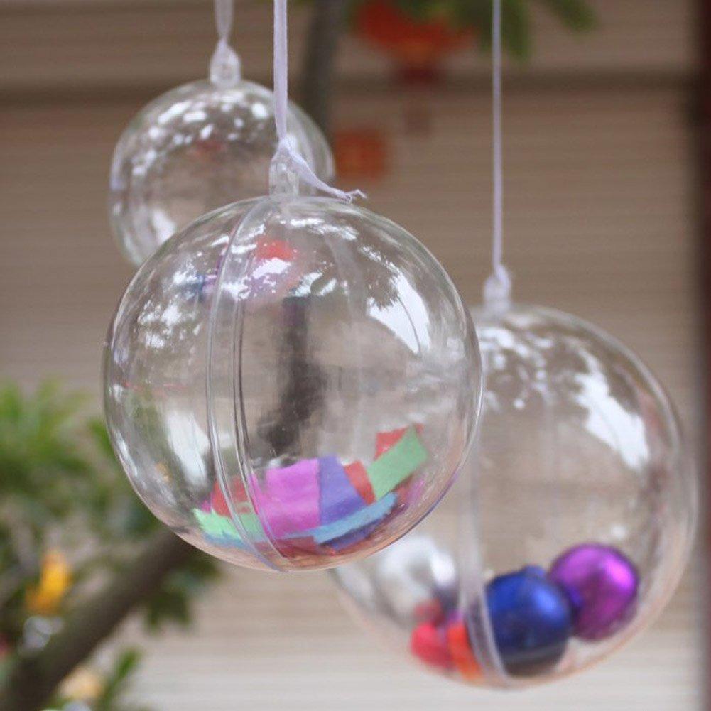 Amazon AerWo 100mm Transparent Fillable Ball Bauble Christmas Ornament Party Decoration 10 Pieces Home Kitchen