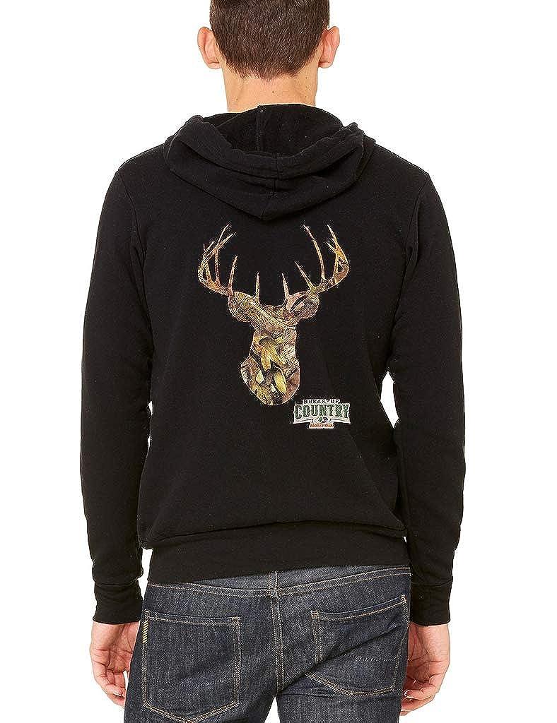 Mens Mossy Oak Deer Black Fleece Zipper Hoodie Black