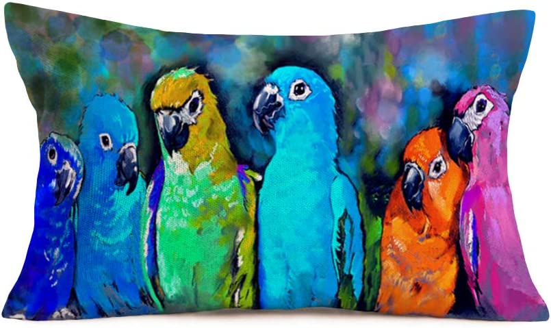 Hopyeer Oil Painting Adorable Parrots Throw Lumber Pillow Cushion Cover Colorful Cute Birds Pattern Cotton Linen Pillow Covers Home Decor Pillowcase 12x20Inch for Sofa Chair Couch Bed (PA-Parrots)