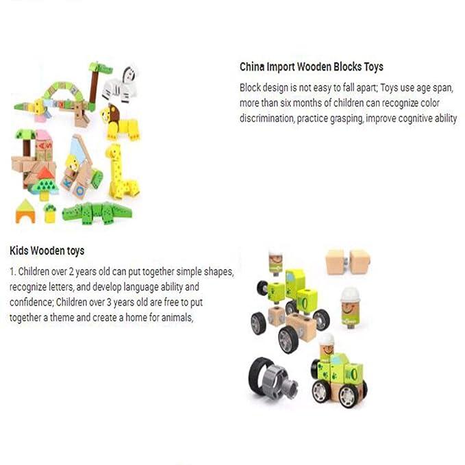 LXWM Bloques de construcción para Animales Partículas Grandes Bloques de ortografía Juguete de Madera Montaje Puzzle Juguetes para niños: Amazon.es: ...